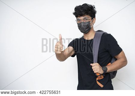 Young Indian College Student Getting Ready For College After University Open After Covid Lockdown.