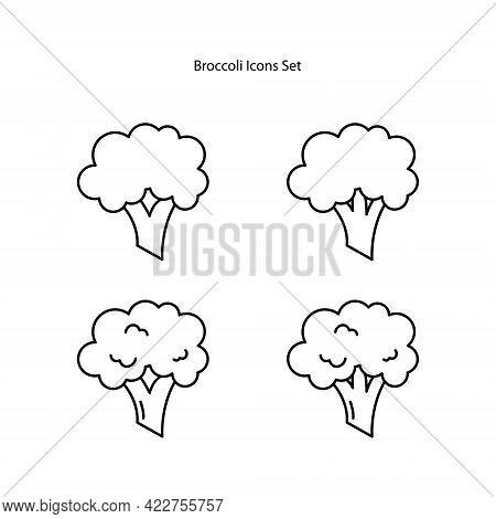 Broccoli Icons Set Isolated On White Background. Broccoli Icon Thin Line Outline Linear Broccoli Sym