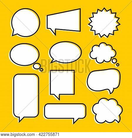 Set Of Blank Funny Hand Drawn Callout Illustration Design, Flat Callout With Outlined Style Template