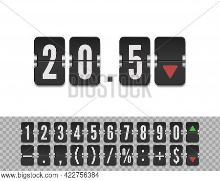 Analog Countdown Font. Flip Numbers Font For Time Counter Information Page. Vintage Symbols Time Met