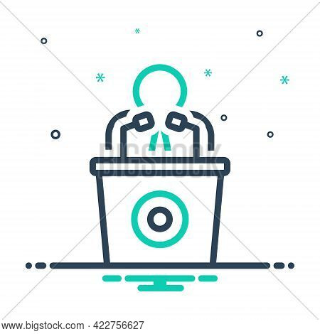 Mix Icon For Man-talking-by-a-speaker Conference Debate Narrator Lecture Microphone Tribune Consulta