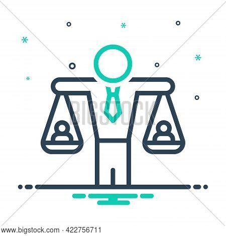 Mix Icon For Human-balanced-scale Equivalence Equality Judgment Responsibility Equilibrium Imbalance