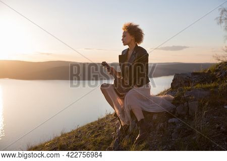 Woman With Guitar Ukulele In The Mountains, Amazing Landscape, Stunningly Beautiful Nature, Mountain