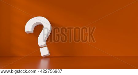 Fine 3d Concept With A White Question Mark Icon In An Orange Room With Space For Text