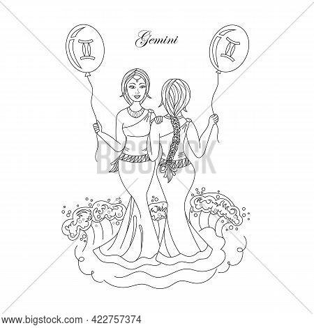 Zodiac Sign Gemini In The Form Of Two Beautiful Girls