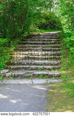 Old Stairs Made Of Stone In Park
