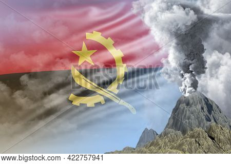 High Volcano Blast Eruption At Day Time With White Smoke On Angola Flag Background, Problems Of Disa