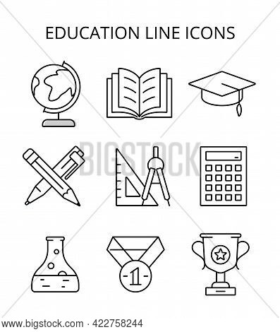 Science And Education. Vector Icons In Flat Style