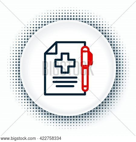 Line Medical Prescription And Pen Icon Isolated On White Background. Rx Form. Recipe Medical. Pharma