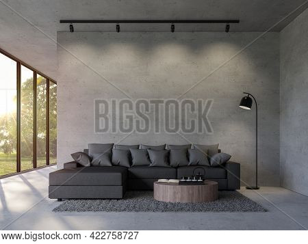 Modern Loft Style Living Room With Empty Concrete Wall 3d Render,there Are Polished Concrete Floor D