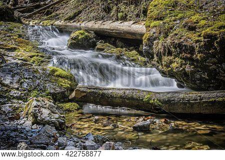 Flowing Creek, Velky Sokol Gorge, Slovak Paradise National Park. Seasonal Natural Scene. Long Time P