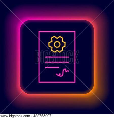 Glowing Neon Line Auto Service Check Automotive Icon Isolated On Black Background. Car Service. Colo