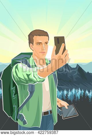 Selfie. Cute Boy Tourist With Smartphone And Tablet. Backpack. Against The Background Of Landscape.
