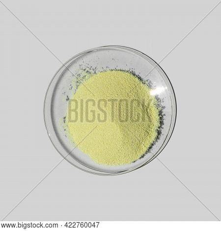 Optiblanc Powder In Chemical Watch Glass. Chemical For Beauty Care On Laboratory Table (top View).