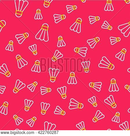 Line Badminton Shuttlecock Icon Isolated Seamless Pattern On Red Background. Sport Equipment. Vector