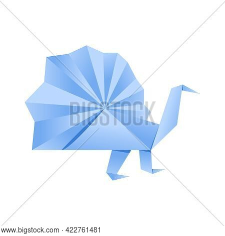 Paper Origami Shape - Bird, Peacock. The Japanese Art Of Folding Paper Figures Is A Hobby, Needlewor