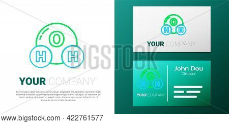 Line Chemical Formula For Water Drops H2o Shaped Icon Isolated On White Background. Colorful Outline