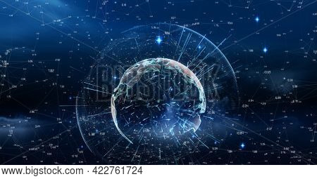 Compostion of globe of network of connections on black background. global connections, technology and digital interface concept digitally generated image.