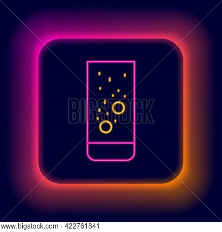 Glowing Neon Line Effervescent Aspirin Tablets Dissolve In A Glass Of Water Icon Isolated On Black B