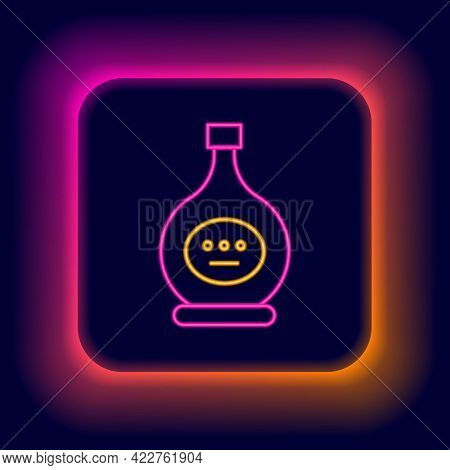 Glowing Neon Line Bottle Of Cognac Or Brandy Icon Isolated On Black Background. Colorful Outline Con