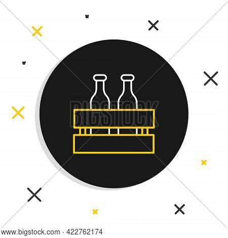 Line Pack Of Beer Bottles Icon Isolated On White Background. Wooden Box And Beer Bottles. Case Crate
