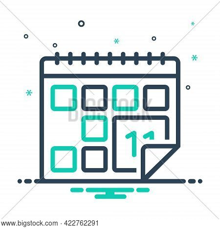 Mix Icon For Calendar Almanac Chronology Agenda Appointment Schedule Reminder Month