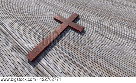 Concept or conceptual rusted metal cross on a natural wood or wooden logg background. 3d illustration metaphor for God, Christ, religious, faith, holy, spiritual, Jesus, belief, resurection