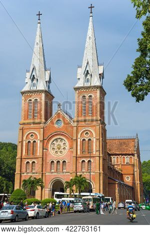 Ho Chi Minh City, Vietnam - December 19, 2015: Notre Dame De Saigon Cathedral On A Sunny Day