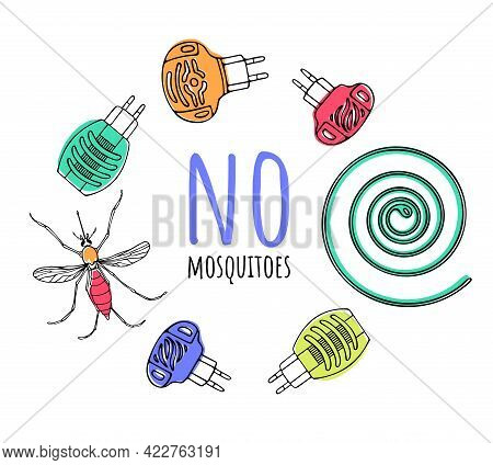 Vector Color Set Of Insect Protection Items, Various Fumigators In The Form Of A Round Frame, Spiral