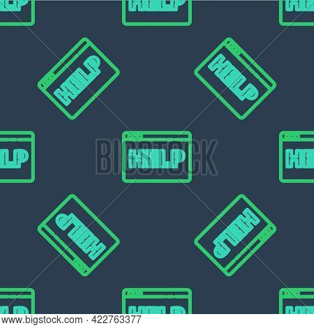 Line Browser Help Icon Isolated Seamless Pattern On Blue Background. Internet Communication Protocol