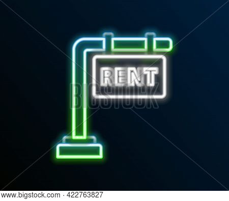 Glowing Neon Line Hanging Sign With Text Rent Icon Isolated On Black Background. Signboard With Text