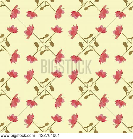 Seamless Pattern Of Flowers In Pastel Pink-yellow Colors For Prints On Fabrics, Packaging, Bed Linen