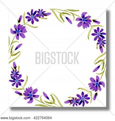 Watercolor Floral Frames, Borders, Cards. Wedding Invitation Cards With Purple Summer Wild Flowers.