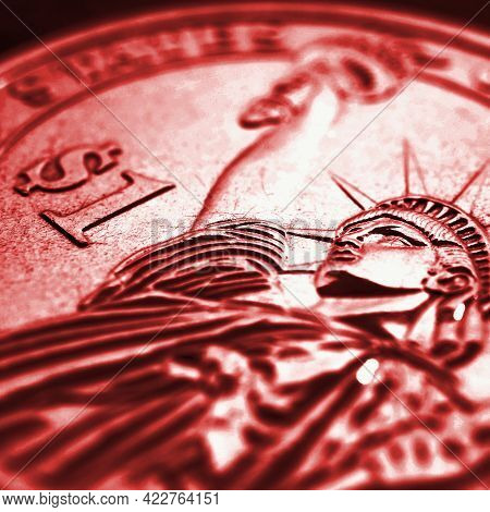 Us One Dollar $1 Coin Close Up. Dark Red Tinted Square Illustration About American Money, Finance, D
