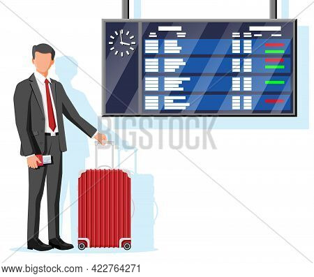Man With Travel Bag. Tourist With Suitcase, Passport, Ticket, Boarding Pass In Airport. Businessman