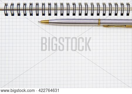 Close-up Notebook Or Note Book Diary With A Pen Or Pencil On Top View Desk Or Boardroom Table For Me