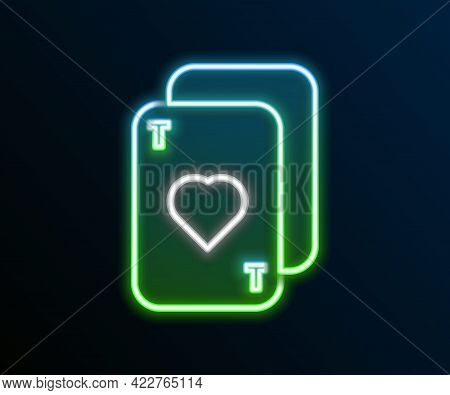 Glowing Neon Line Playing Cards Icon Isolated On Black Background. Casino Gambling. Colorful Outline