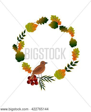 Frame With Autumn Leaves, Red Berries And A Bird. Vector Illustration Isolated On White Background.