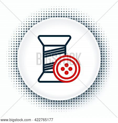Line Sewing Thread On Spool And Button Icon Isolated On White Background. Yarn Spool. Thread Bobbin.