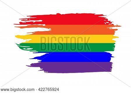 Rainbow Pride Lgbt Flag. Vector Brush Strokes. Grunge Rainbow Backdrop. Dirty Artistic Design Elemen