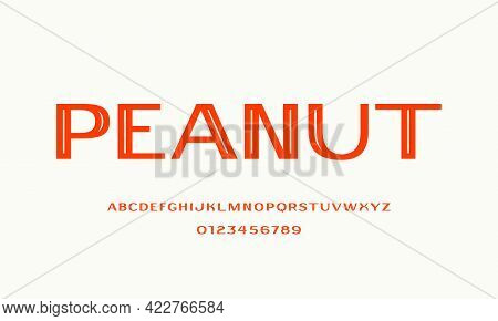 Decorative Sans Serif Font With Inner Contour. Letters And Numbers For Logo And Label Design. Isolat