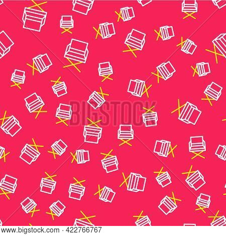 Line Director Movie Chair Icon Isolated Seamless Pattern On Red Background. Film Industry. Vector
