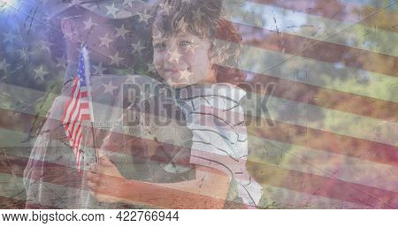 Composition of female soldier embracing smiling son over american flag. soldier returning home to family concept digitally generated image.