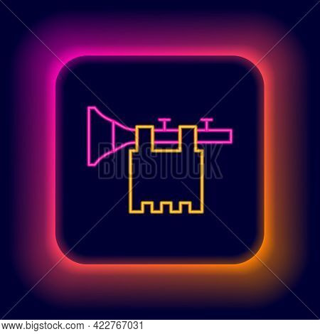 Glowing Neon Line Trumpet With Flag Icon Isolated On Black Background. Musical Instrument Trumpet. C