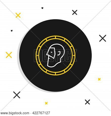 Line Ancient Coin Icon Isolated On White Background. Colorful Outline Concept. Vector