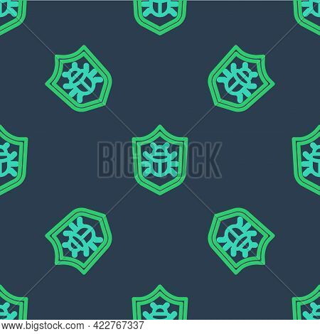 Line System Bug Concept Icon Isolated Seamless Pattern On Blue Background. Code Bug Concept. Bug In