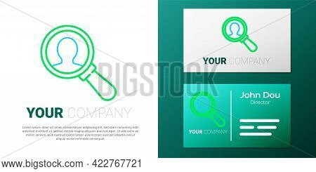 Line Magnifying Glass For Search A People Icon Isolated On White Background. Recruitment Or Selectio