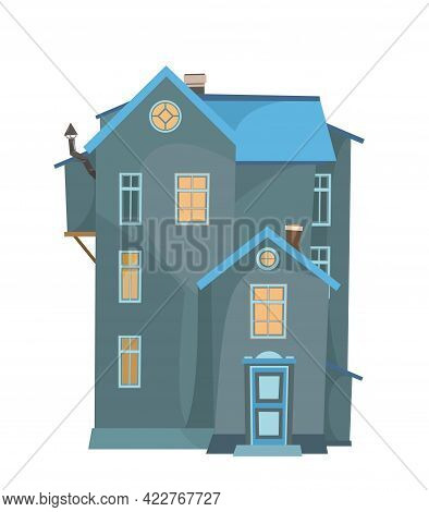 Simple Tall Cartoon House. Night. Cozy Rustic Dwelling In A Traditional European Style. Nice Dark Ho