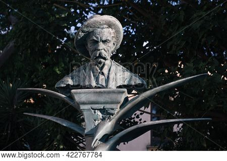 Sorrento, Campania, Italy - August 26 2020: Monument Tor The Russian Writer Maxim Gorky, A Bronze St