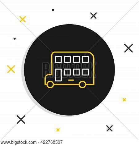 Line Double Decker Bus Icon Isolated On White Background. London Classic Passenger Bus. Public Trans